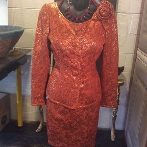 Custom Made Burnt Orange 2 Piece Suit Approx Sz 6